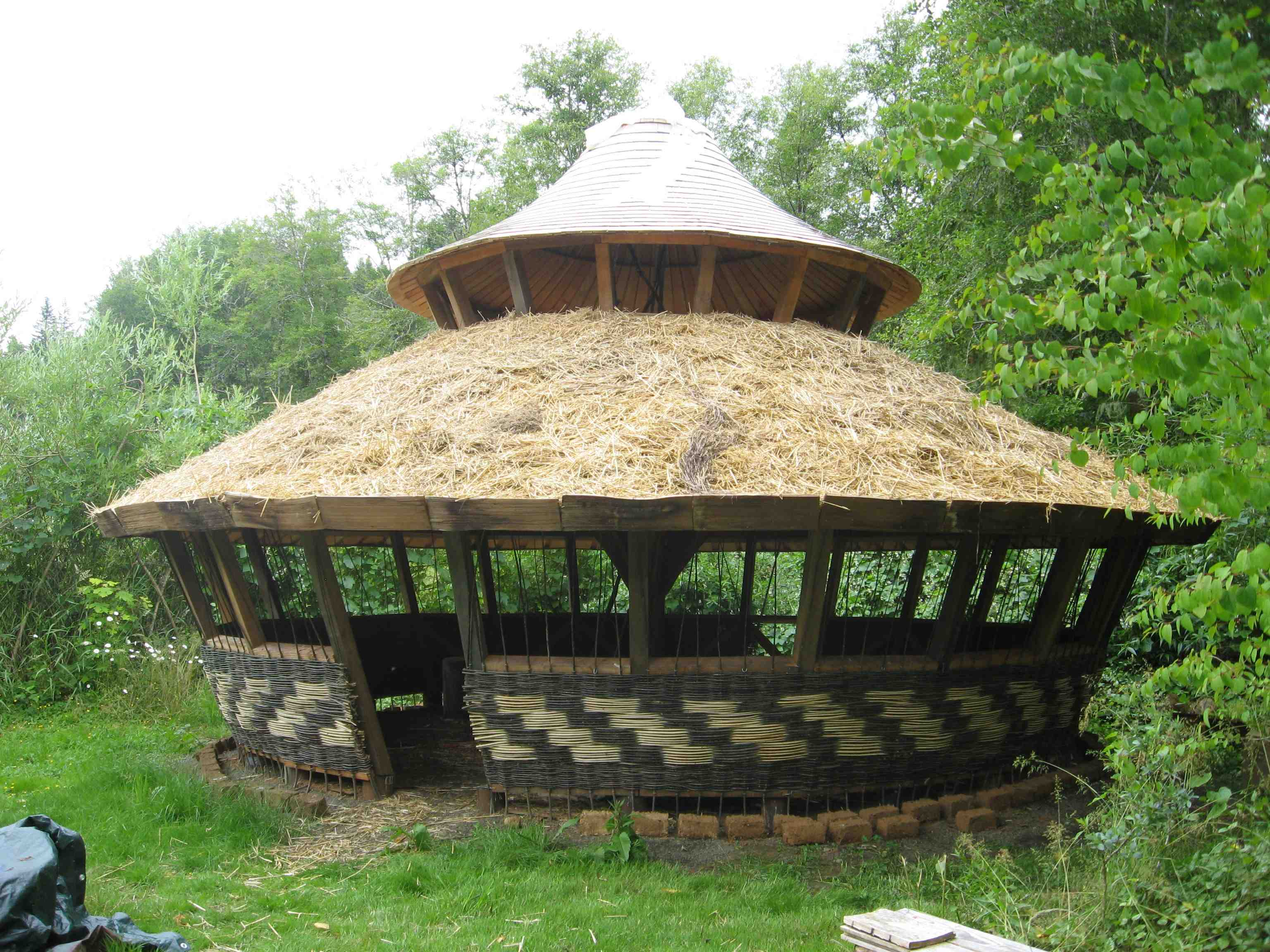 Two tier yurt with bill coperthwaite hand print press for Yurt home plans