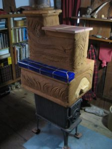 earthen masonry heater hat for wood-fired stove