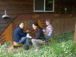 Maia Fischler and friends working on their mural