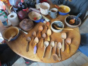 Some of Robin Wood's collected spoons, at lunch, made by as many different carvers. Note the bowls, too...