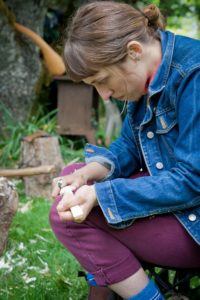 Carving spoons requires concentration