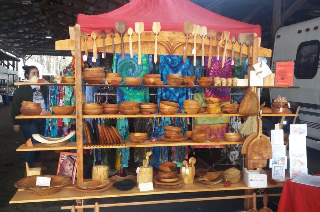 green wood wares at market